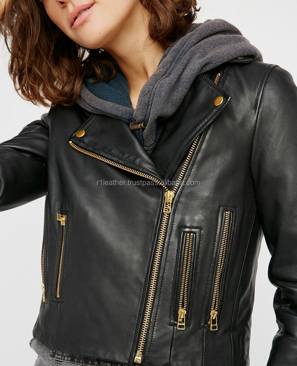 Biker style red quality winter black leather woman jacket with black collar