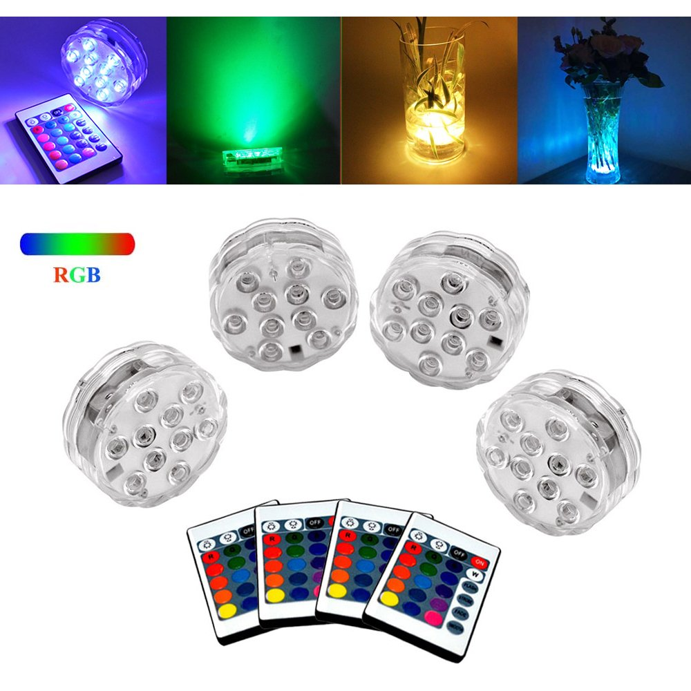 PiscatorZone Garden Pool Light,Submersible LED Lamp with Remote Controller+Changing Color Lights for Landscape,Aquarium,Vase Base,Pond,Party,Wedding,Christmas,Halloween and Home Decoration (4 PCS)