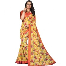Giallo <span class=keywords><strong>Digitale</strong></span> A Colori Stampato Georgette Casual Wear <span class=keywords><strong>Saree</strong></span>