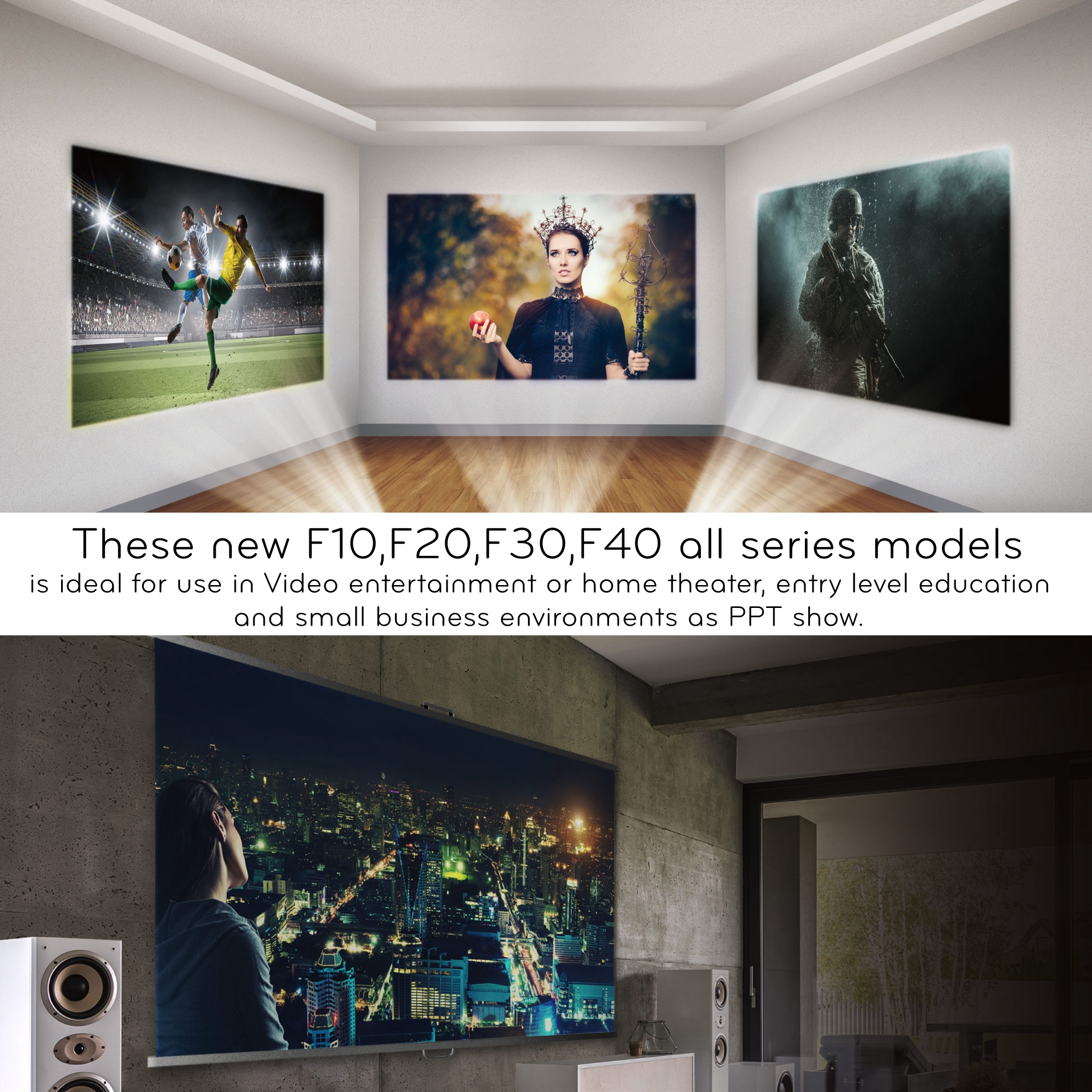 China inProxima modell F20UP Full HD home cinema LCD LED projektor 4K mit android OS 6,0 für handy