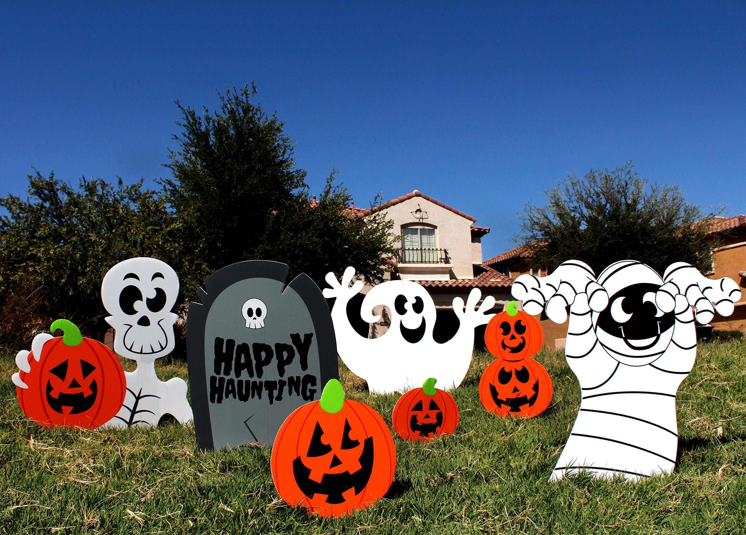 JOYIN Halloween Decorations Outdoor Skeleton Ghost Corrugate Yard Stake Signs Halloween Lawn Yard Decorations (Pack of 7)