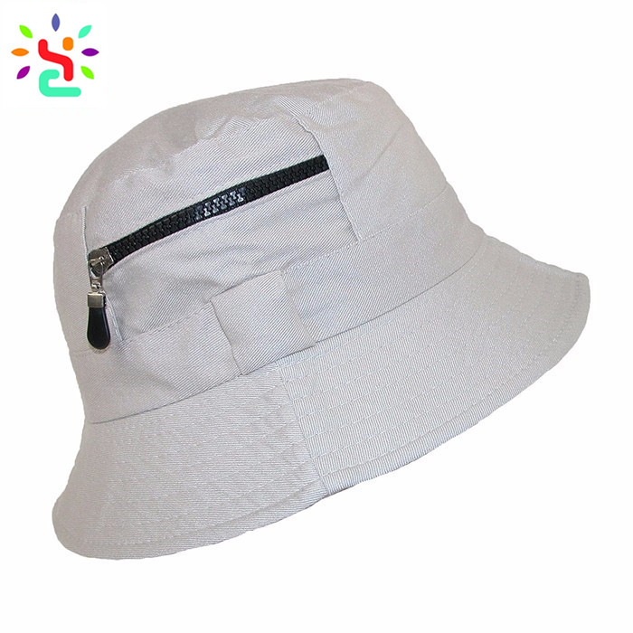 Plain bucket hats with zipper pocket fisherman hat cool sun cap without  string boonie hat 4dda14aa459