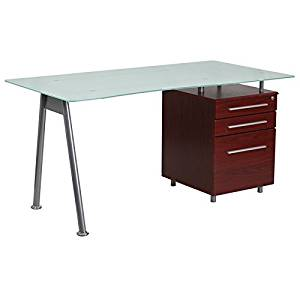 Hamlet Glass Home/Office Computer Desk w/Mahogany Three Drawer Pedestal