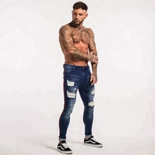Fashion street style broek <span class=keywords><strong>jeans</strong></span> gestreepte panel mannen denim broek super skinny ripped <span class=keywords><strong>jeans</strong></span>