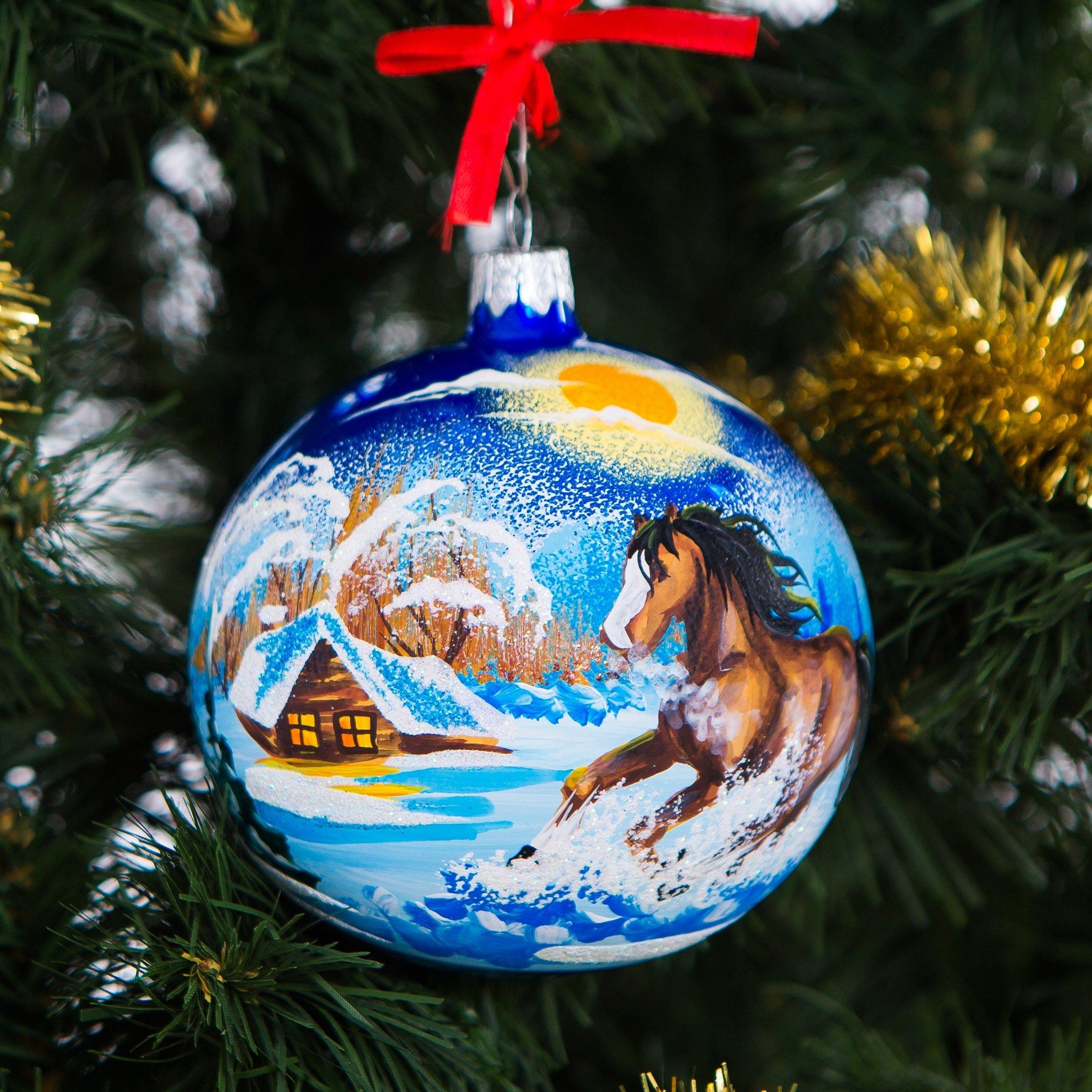 get quotations handpainted glass christmas ornaments tree balls 100mm handmade new year round ball decoration xmas 2016 - Glass Christmas Balls