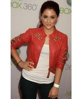 Women's Handmade Red Color Leather Jacket With Golden Studded