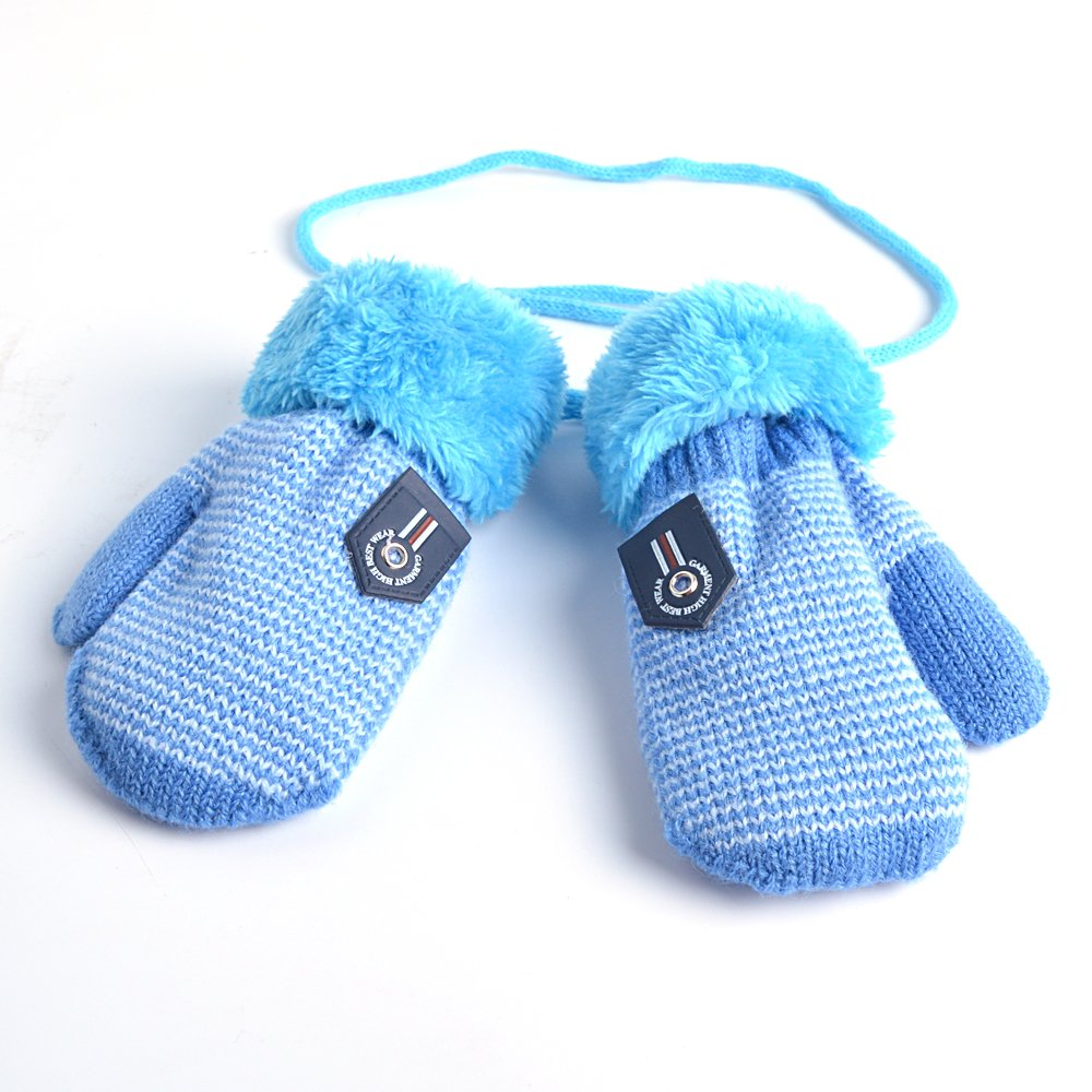 HOOYEE Infant Baby Toddler Unisex Winter Thick Warm Knitted Gloves Mittens with String