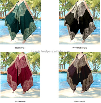 e525e323a6cf7 Aladdin Hippie Boho Harem Romper Jumpsuit Wide Leg Yoga Jumpsuit Pants Thai  art feather dot