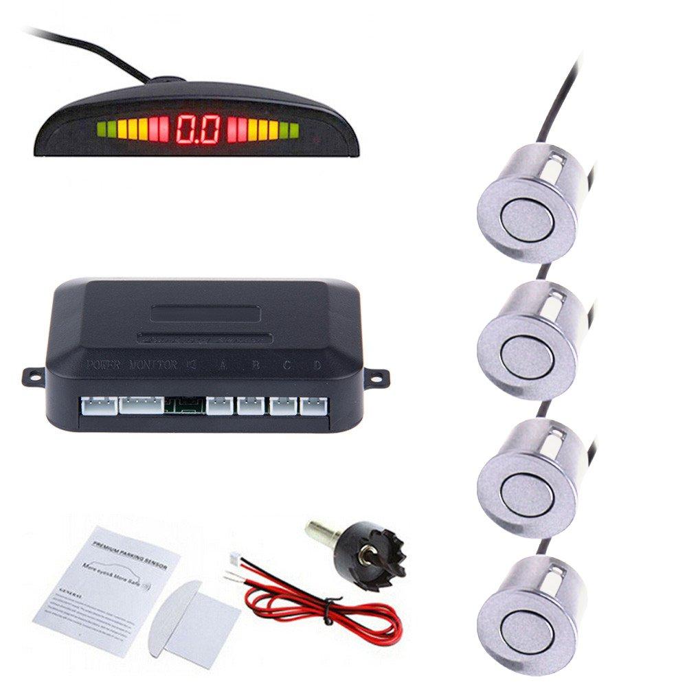 Tiemahun LED Parking Sensors Car Auto Vehicle Reverse Backup Radar System, Sound Warning, Water resistant anti-freeze, 22MM Diameter Sensor 2.3M Cable X68D (Silver)