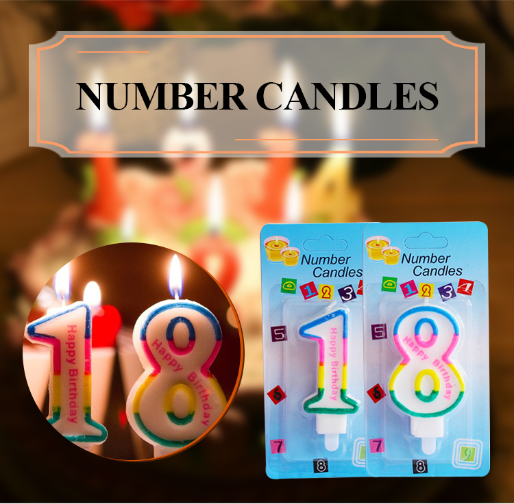 paraffin wax hot sell colorful birthday cake number candle