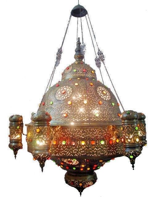 Br235 Antique Reproduction Large Huge Turkish Arabic Style Pendant Light Fixture Incandescent Fixtures Perforated Metal