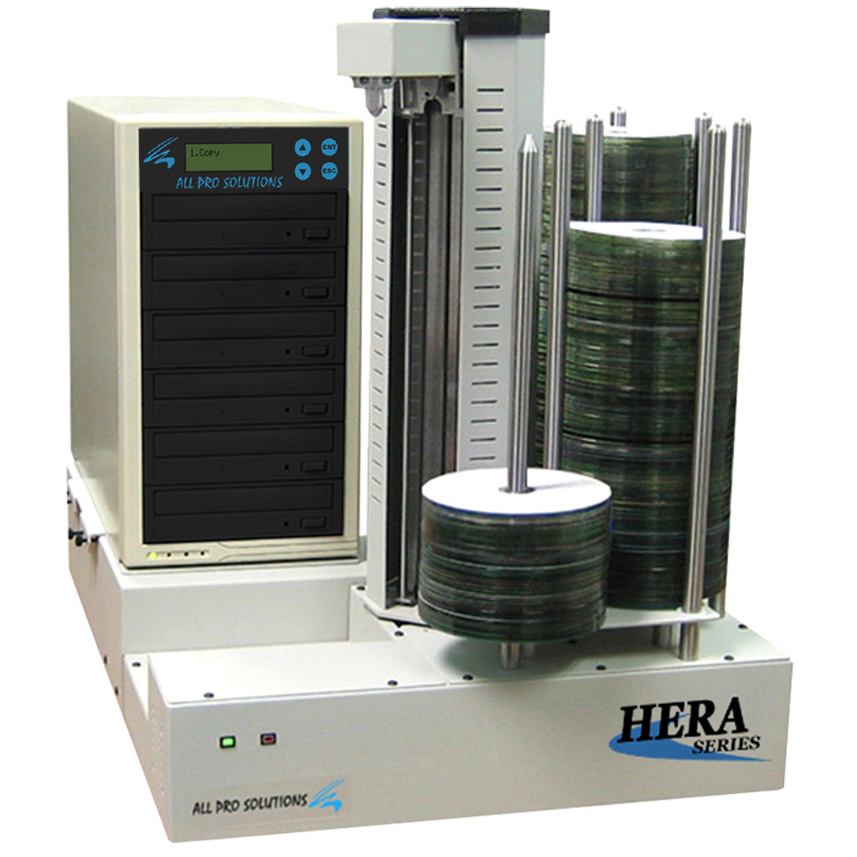 Hera 6 Duplicator 6 Drives CD DVD Copier Burner Fully Automated Standalone with 500GB HDD 630 Disc Capacity