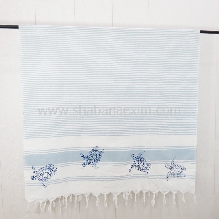 Turkish cotton towels hand printed beach throws peshtemal India manufacturer