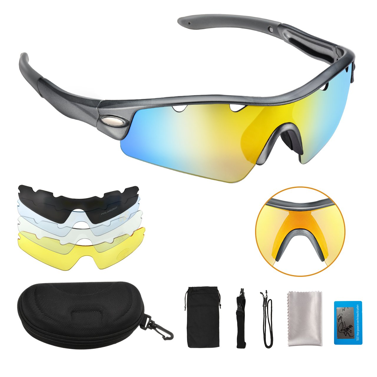 45c0bbc313f7 Get Quotations · OMorc Polarized Sunglasses with 5 Interchangeable Lenses  (1 Polarized Sunglass and 4 Common Sunglasses)