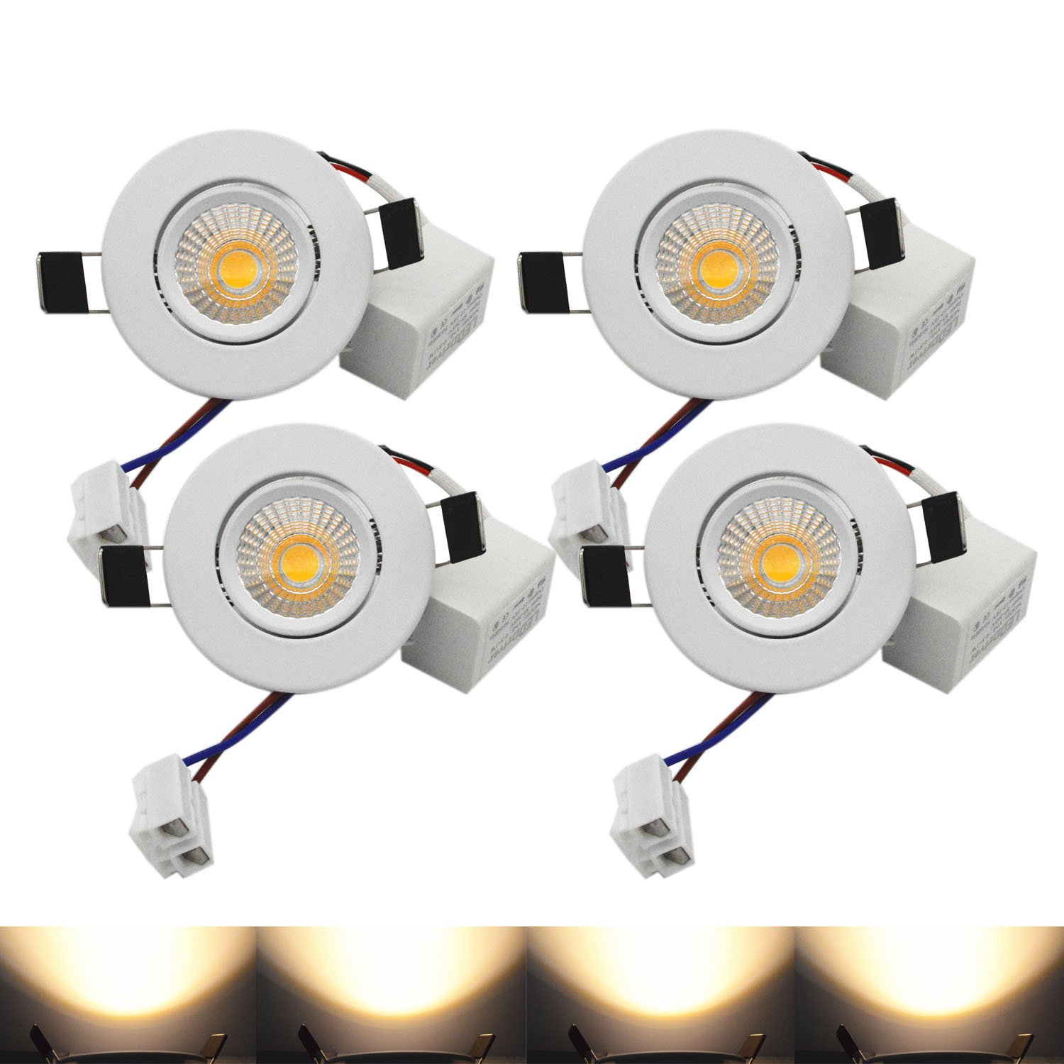 LED Downlight ZDPCYT 3W COB 110V Dimmable Ceiling Lights Warm White 60 Beam Angle Recessed Lighting 3000K-3500K Soft lighting cutout 53mm Pack of 4 With Driver