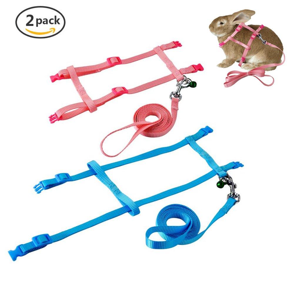 Get Quotations · PerSuper - 2 Pack Pet Rabbit Harness Leash for Soft  Nylon,Running,Walking Jogging