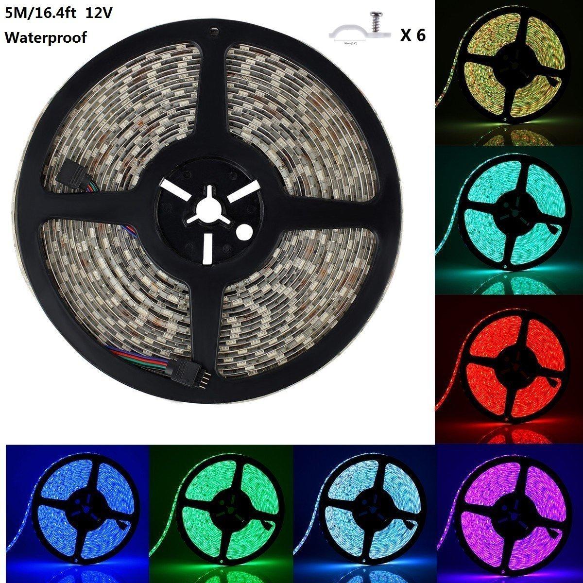 Topled Light RGB LED Strip Lights, 16.4FT/5M RGB Color Changing Flexible LED Rope Light IP65 Waterproof 5050SMD 300 LEDs 12V Strip Lighting for Bedroom Holiday Party(Single Light Strip)