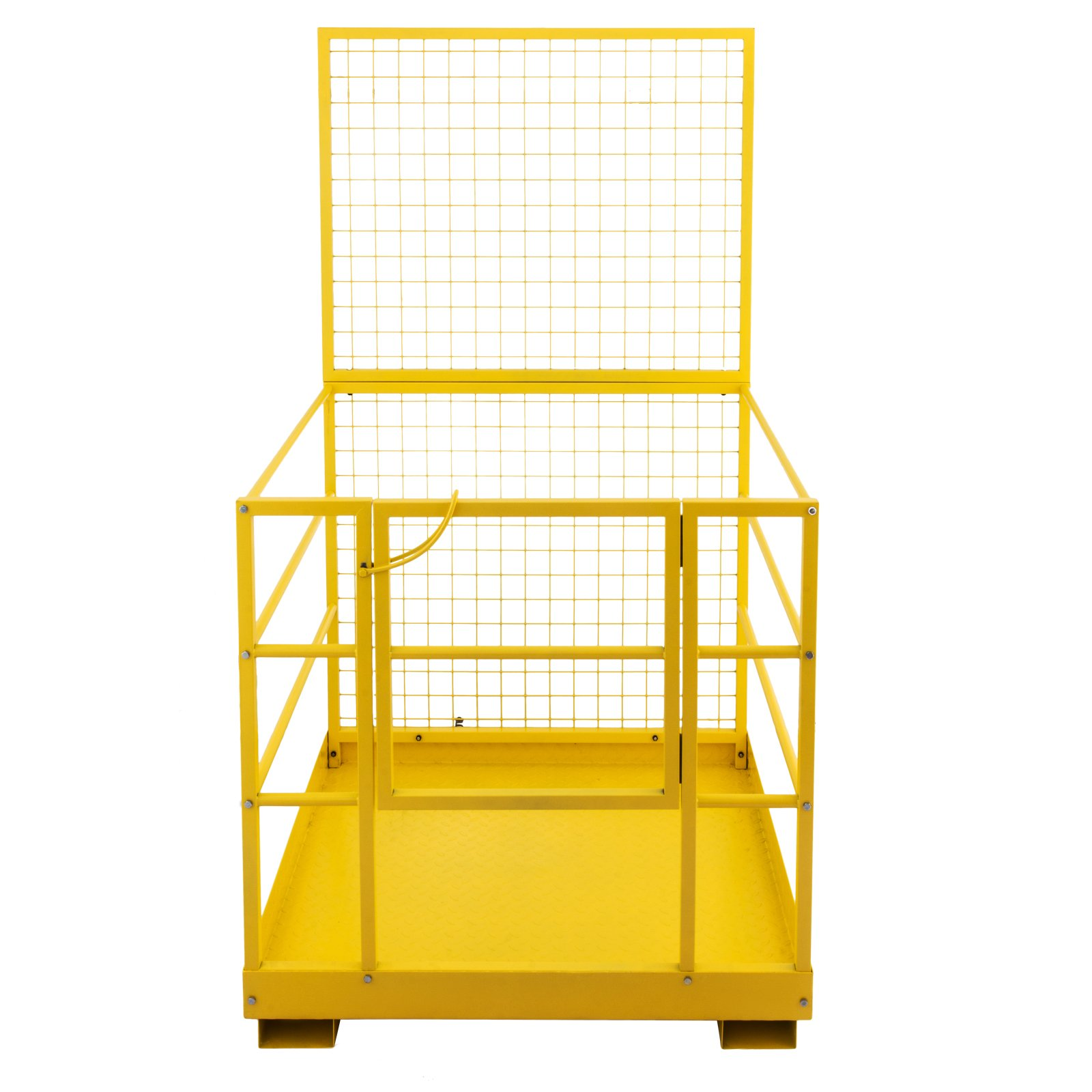 """Mophorn Forklift Safety Cage 45 x 43 Inch Fork Lift Work Platform 1200lbs Capacity Heavy Duty Steel Forklift Safety Lift Basket Aerial Fence Rails Yellow Pallet loader Fork lift Safety Cage (45""""x43"""")"""