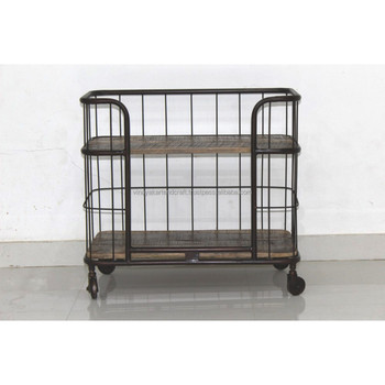 Vintage Industrial Kitchen Cart Trolley On Wheels Antique Serving Utility  Cart Outdoor Trolleys - Buy Serving Cart With Wheels,Antique Metal Cart ...