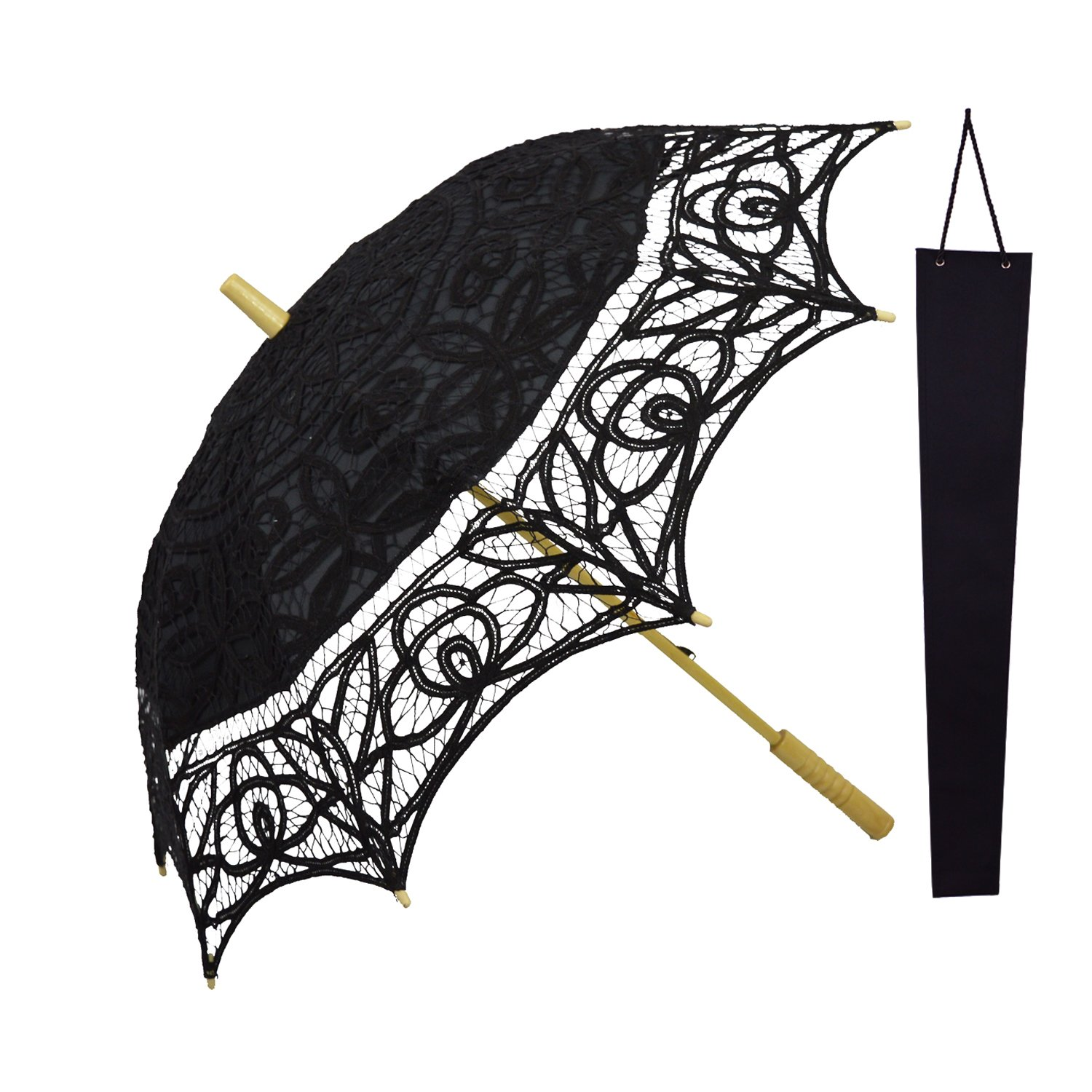 6521b201f Get Quotations · KAKOO Lace Parasol Umbrella Vintage Victorian Cotton Lace  Parasol With Protective Sleeve For Wedding Party Decoration
