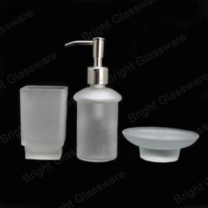 Hotel decor borosilicate frosted glass 3 piece bathroom accessories sets