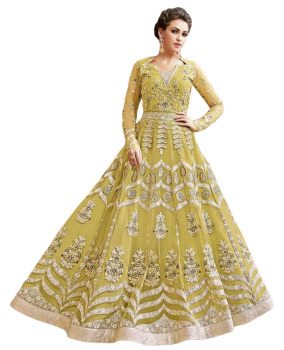 e6c9538542 Stylish 2017 Attractive Wedding Wear Maxi Gown Style Anarkali Lehenga Suits  (Semi Stitched Dress Material