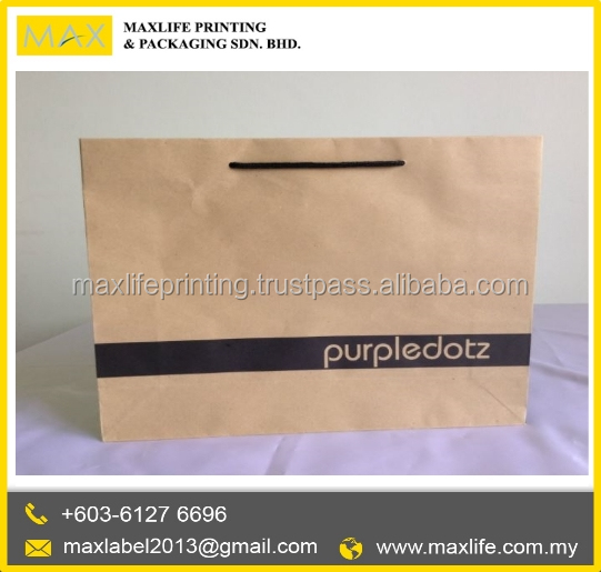 Printed brown Packaging paper bag with twisted handle