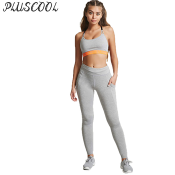 87a255f3190fd workout leggings running tights for women solid grey leggings with key  pockets