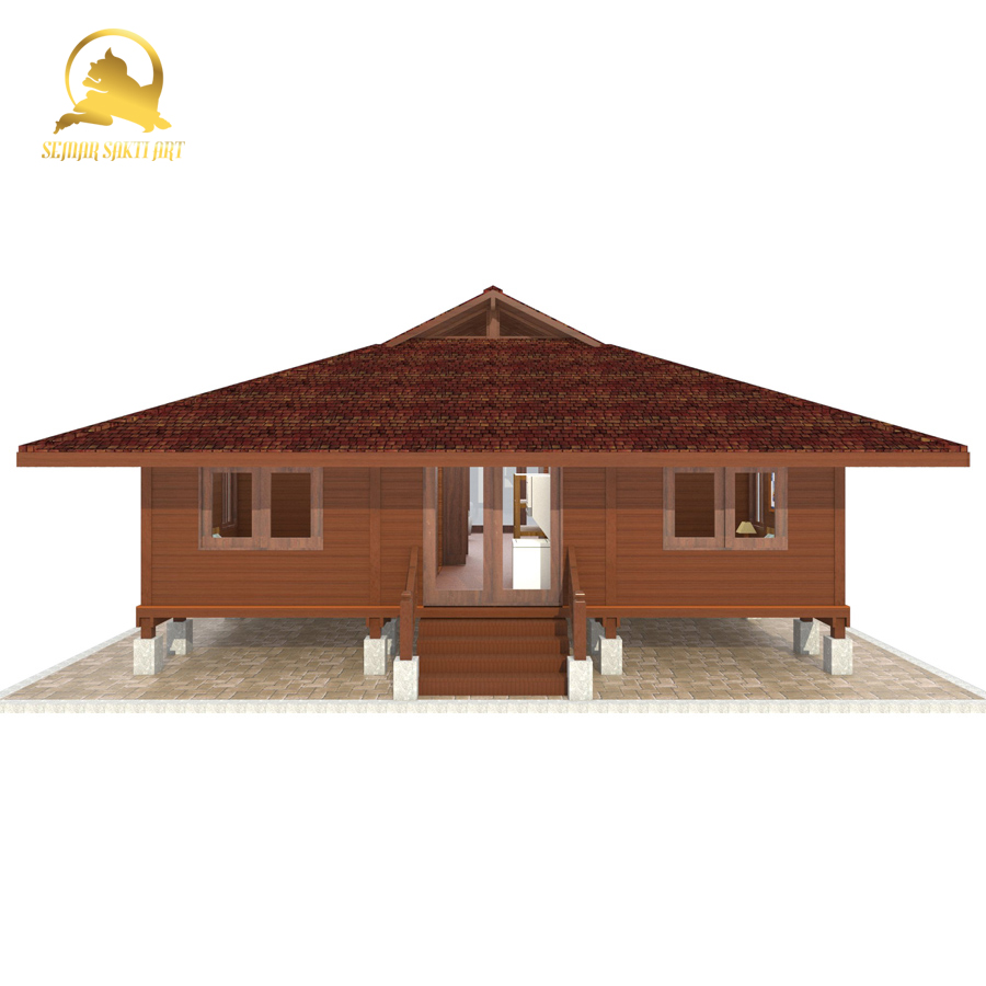 Luxury Durable Teak Prefabricated Wooden Villa house from Indonesia