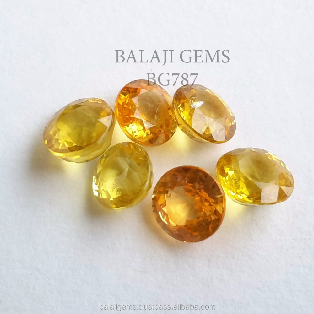 Natural Yellow Sapphire Round Cut Loose Gemstone on Sale