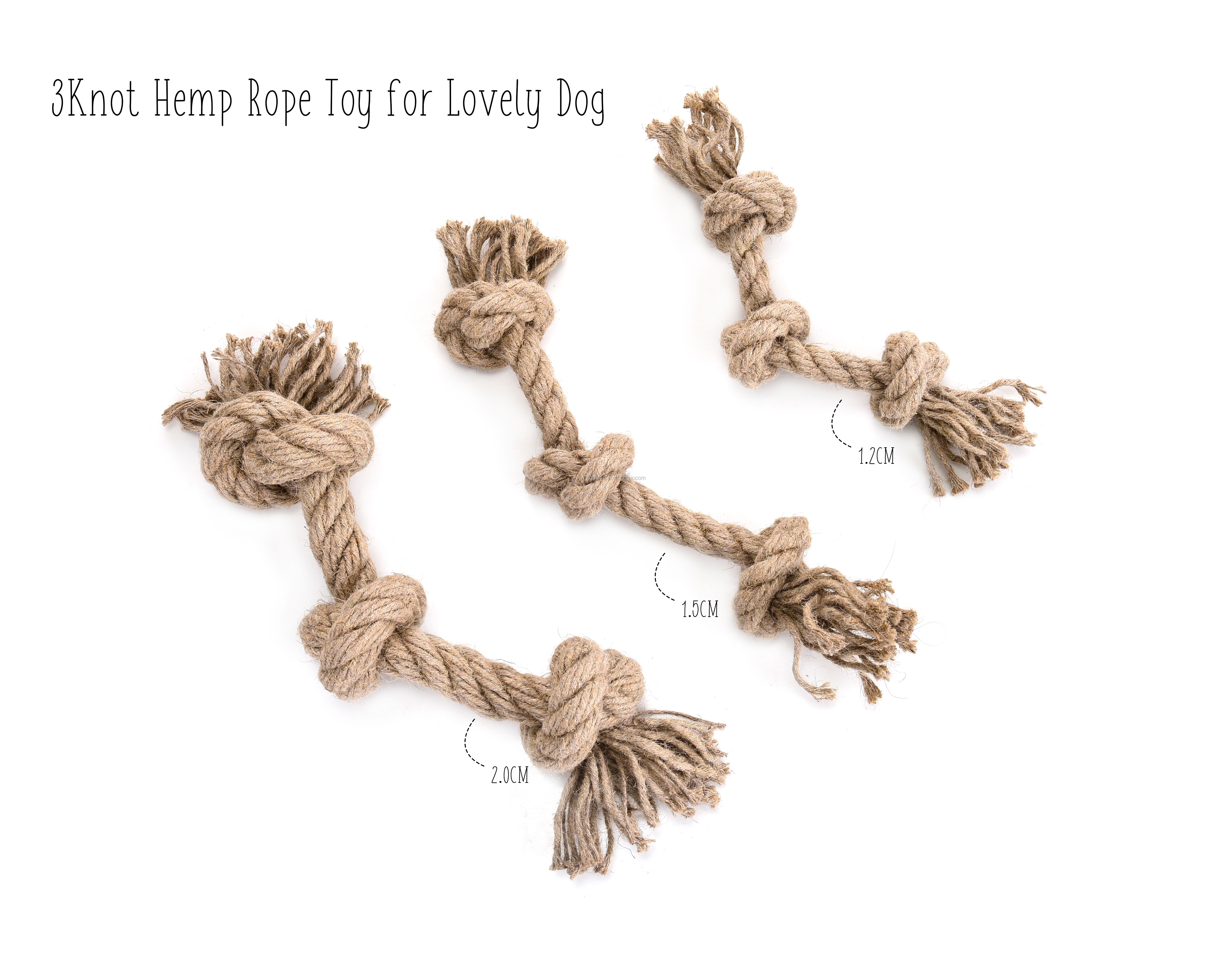 HEMP DOG Toys 12MM & 15MM & 20MM Optional, Dog Rope Toy Made From Hemp