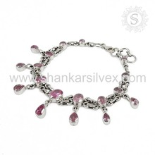 Latest trend handmade silver bracelet jewelry 925 sterling silver pink cz gemstone jewellery supplier wholesale