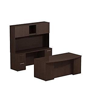 "Bush 72"" Office Desk, Hutch & Credenza 71.1""W X 99.5""D X 72.3""H Bundle Includes: 72""W X 36""D Bow Front Double Pedestal Desk W/72""W Credenza & Hutch  - Mocha Cherry"
