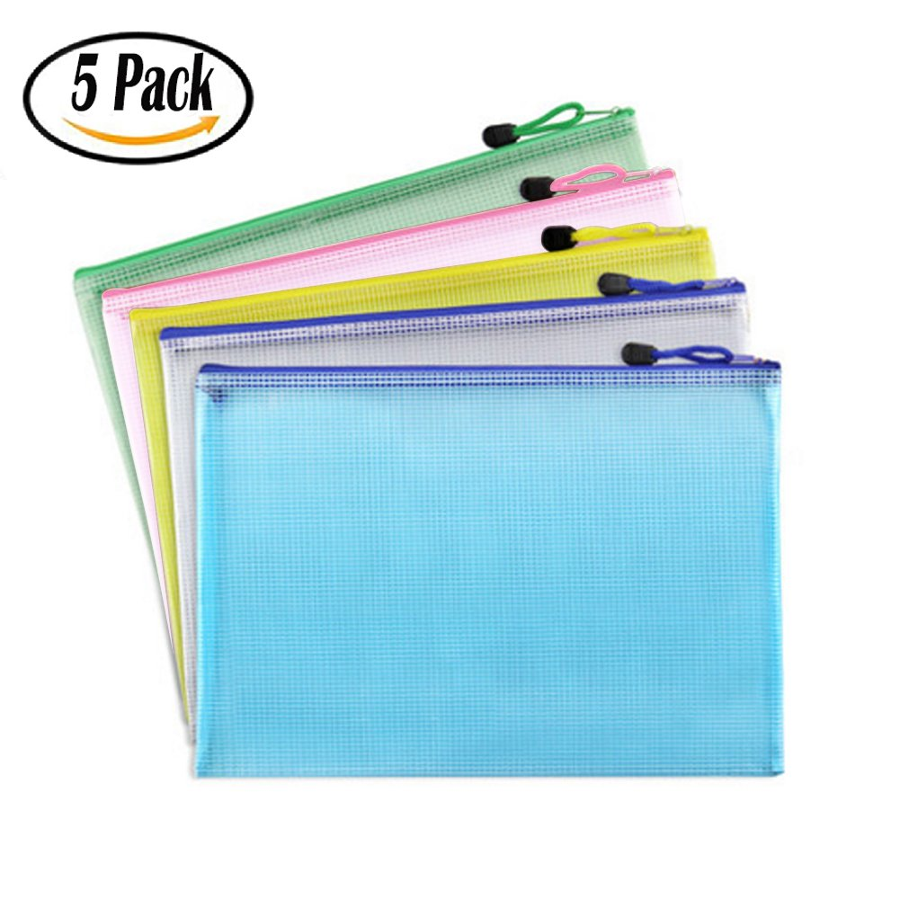 Buytra 5 Pack A4 Size Zipper File Bags Waterproof Mesh Document Bags Travel Pouch for Office, Back to School Supplies, Cosmetics, Assorted Colors
