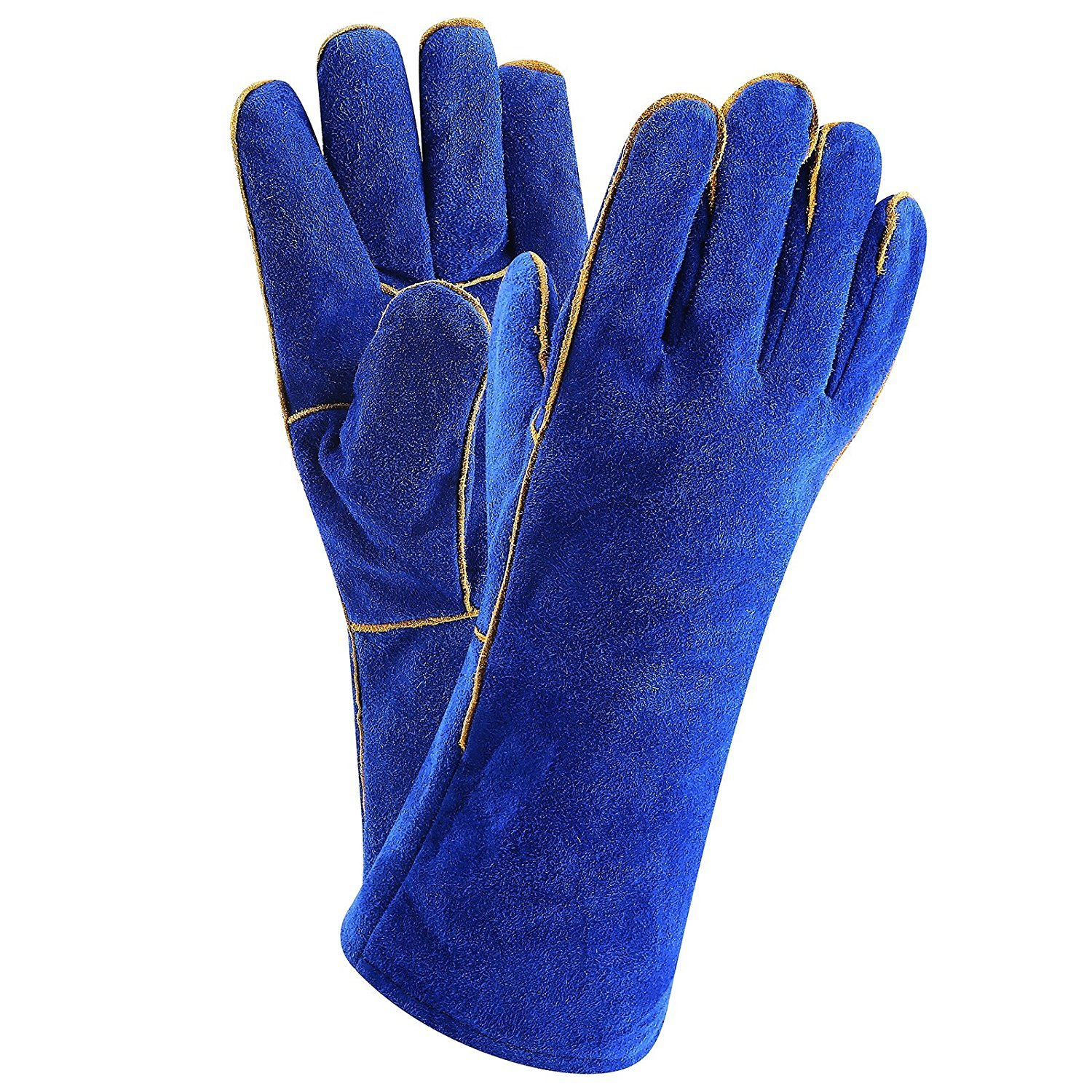 DEKOPRO Welding Gloves Heat Resistant Lined Leather, Blue - 14 Inch for Mig, Tig Welders, BBQ, Gardening, Camping, Stove, Fireplace and More
