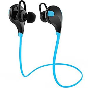 MMOBIEL Bluetooth Headphones V4.1 Wireless Stereo Hi-Fi Sound In-Ear Noise Cancelling Sport Earbuds Incl. Microphone/APT-X for all Bluetooth Smartphones (Blue)