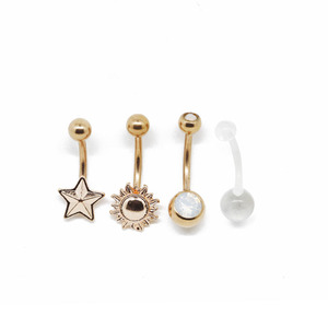 Hot sale stainless steel navel piercing body jewelry whole set belly button