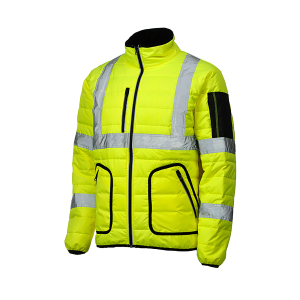 Factory customize good quality reflective stripe cheaper worker wear Men's winter work wear hi vis jacket