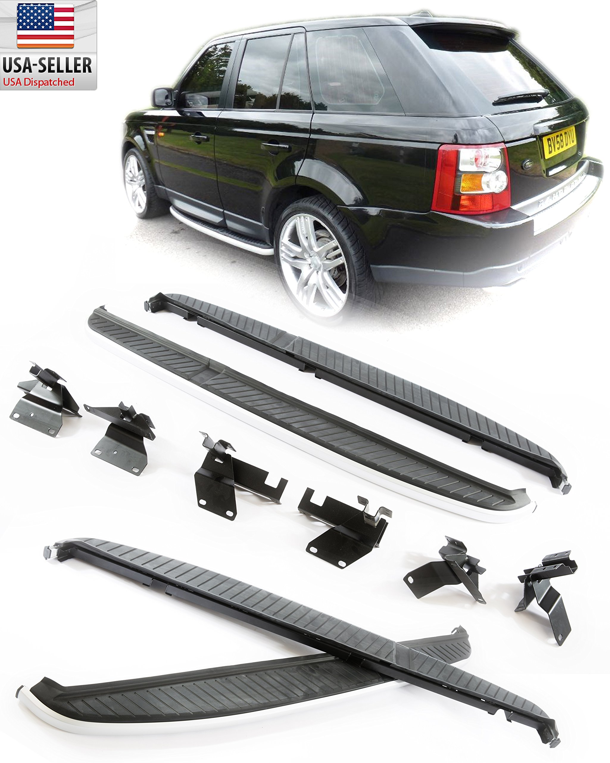2006-2012 Land Rover Range Rover Sport Aluminum Running Board Side step Bar Bolt On (Supercharged Sport) ONLY 2006 2007 2008 2009 2010 2011 2012