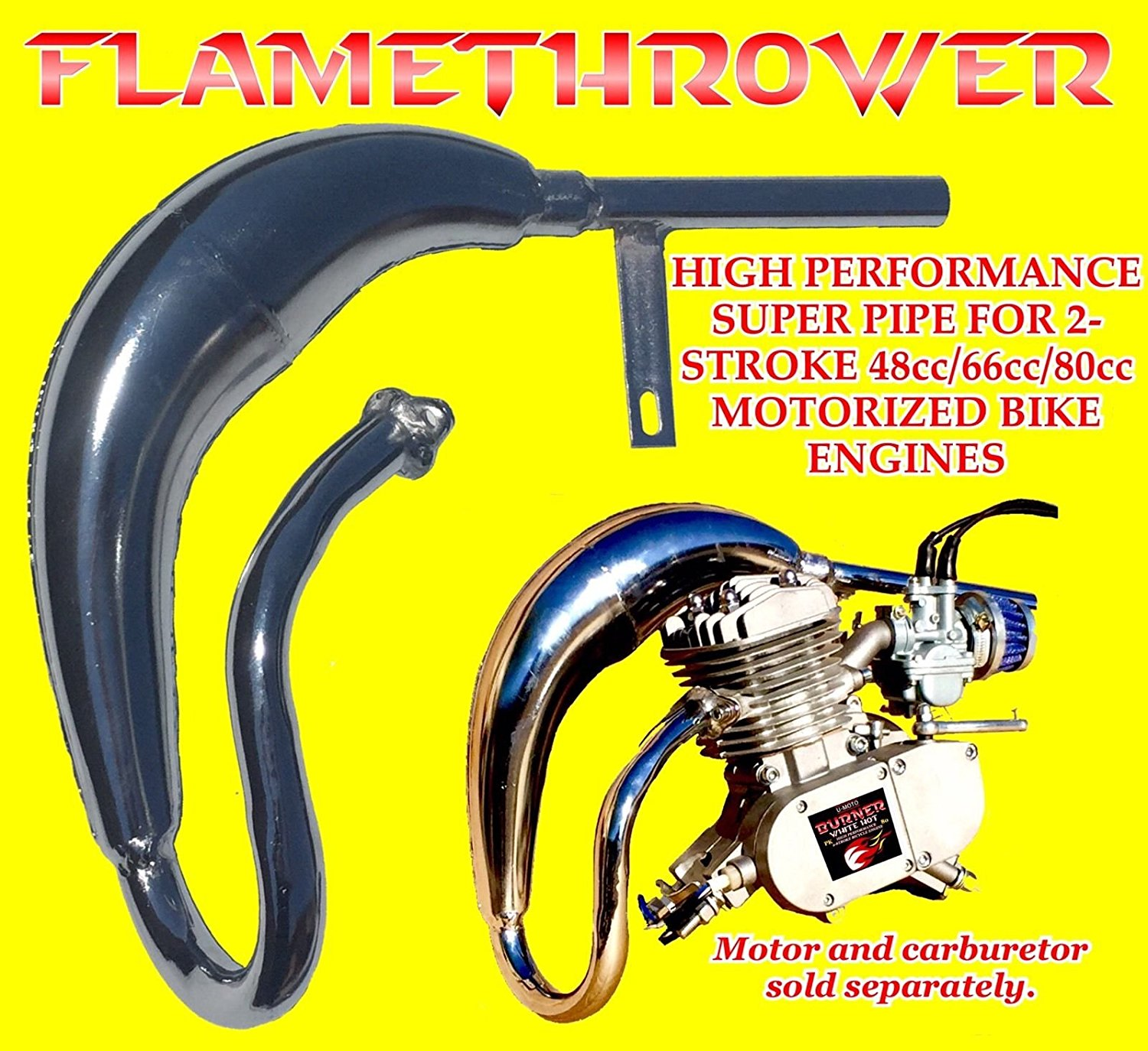 HIGH PERFORMANCE EXHAUST FOR DIY 2-STROKE 66CC/80CC COMPLETE MOTORIZED BIKE KITS