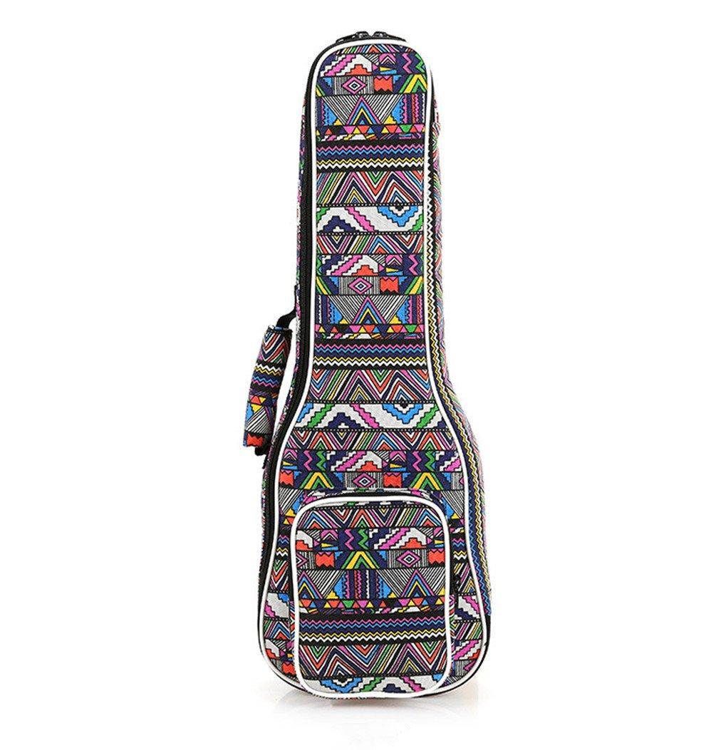 Ukuee Waterproof Ethnic Style Canvas 10MM Thick Durable Ukulele Bag Case with with Large Storage Soprano