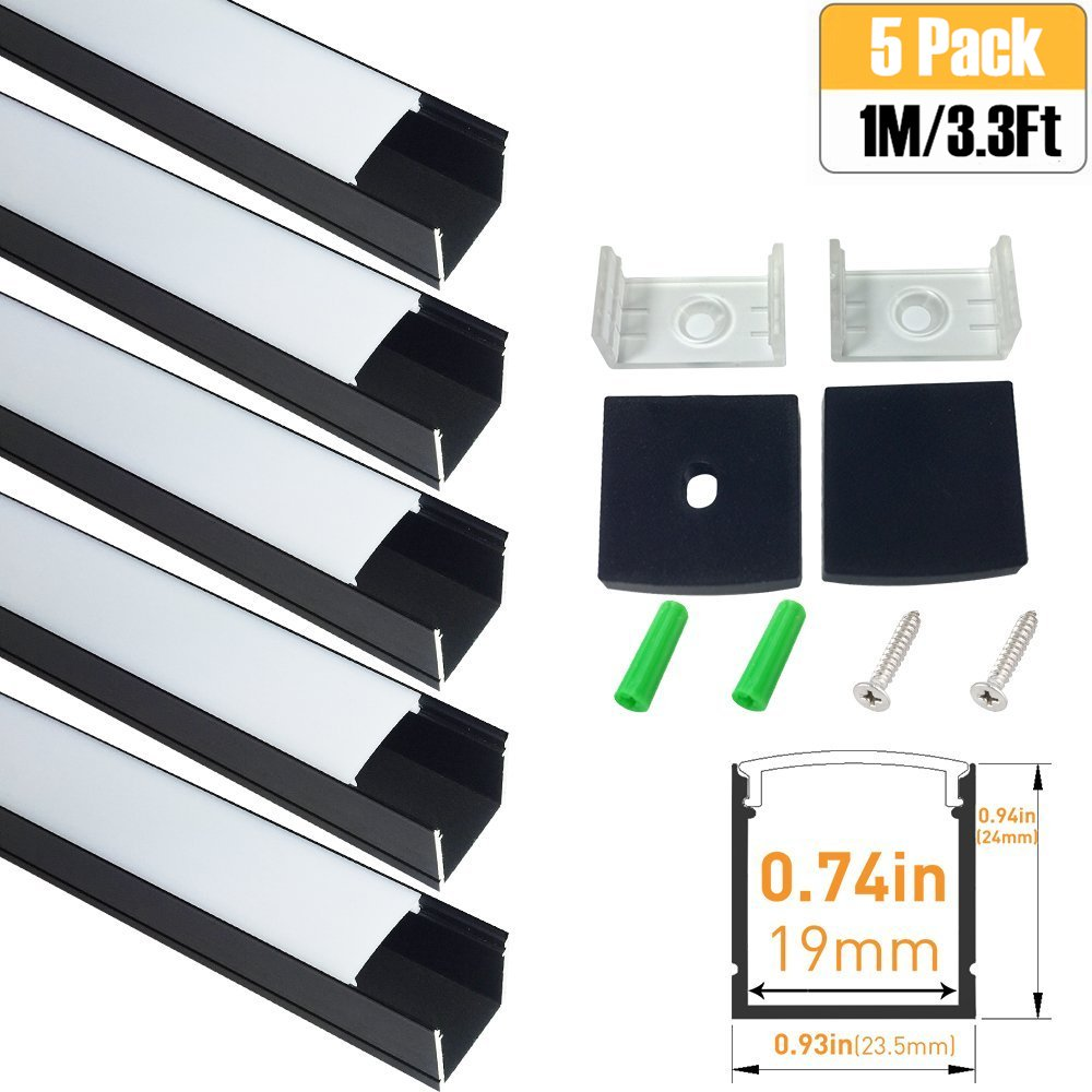LightingWill Spot Free U Shape LED Aluminum Channel 5-Pack 3.3ft/1M 24x24mm Anodized Black Track Internal Width 20mm with Cover End Caps Mounting Clips for Cabinet Kitchen LED Strip Lighting-U06B5