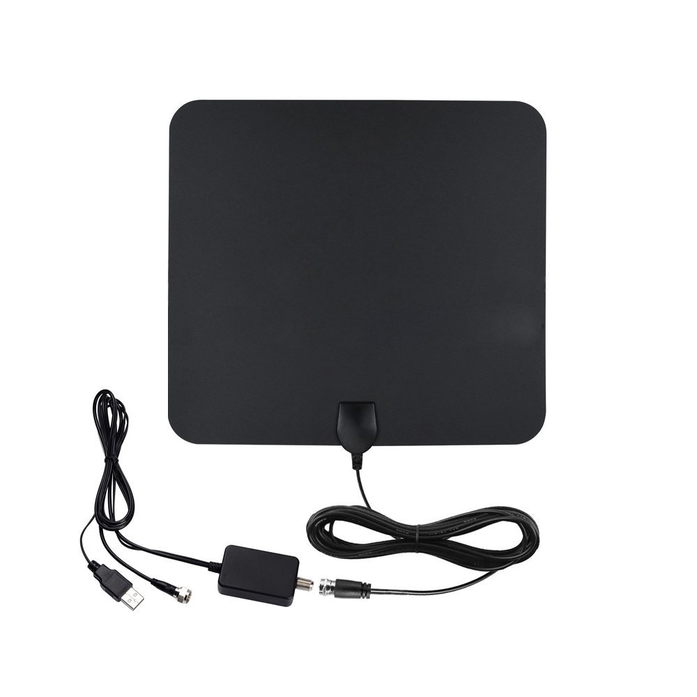 Amplified HDTV Antenna Digital TV Antenna Indoor Long Range 50-70 Miles 4K HD VHF UHF Freeview Local Channel Power Supply and 19.5FT High Performance Coaxial Cable by TUKOTV