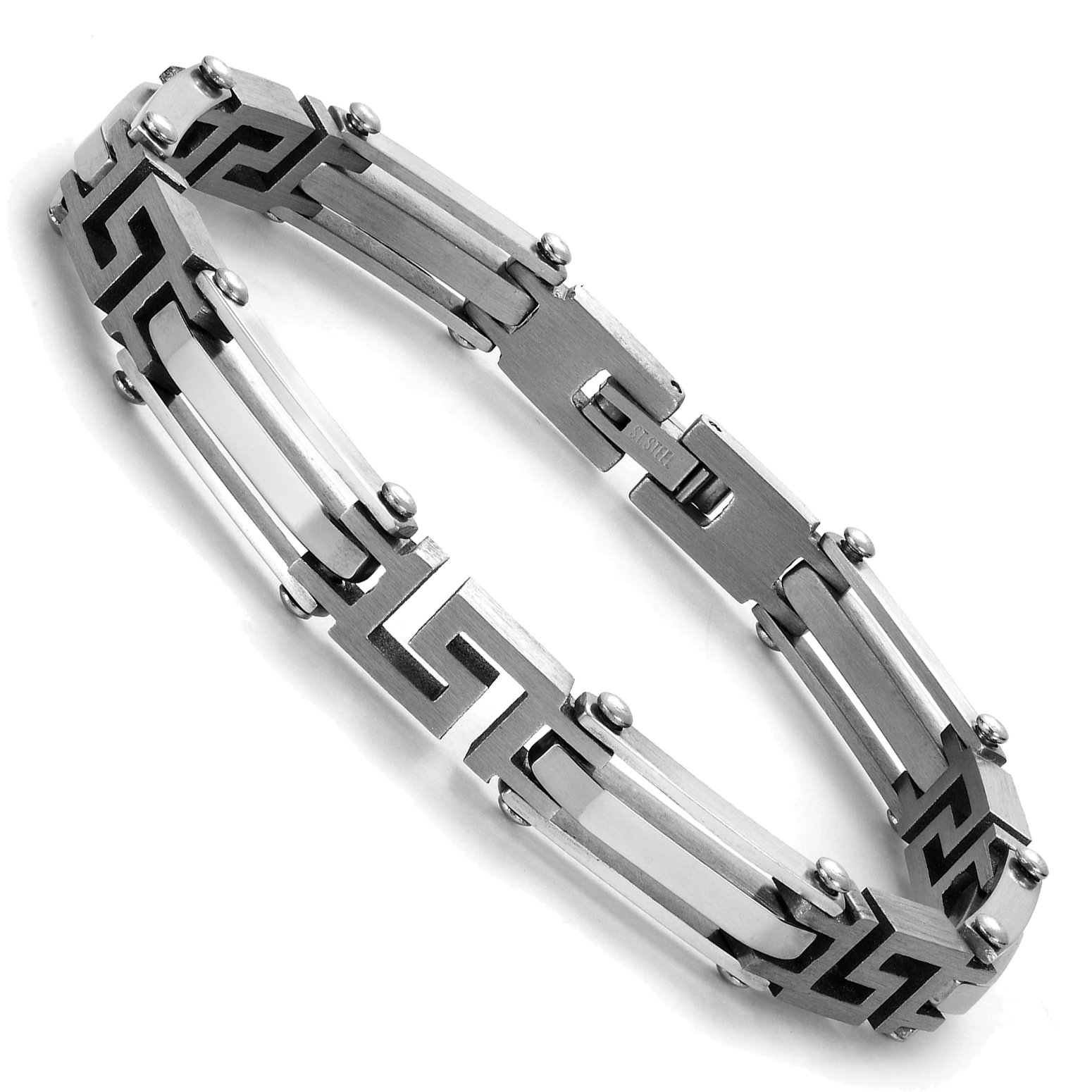 Urban Jewelry Elegant Silver Tone Link 316L Stainless Steel Bracelet for Men