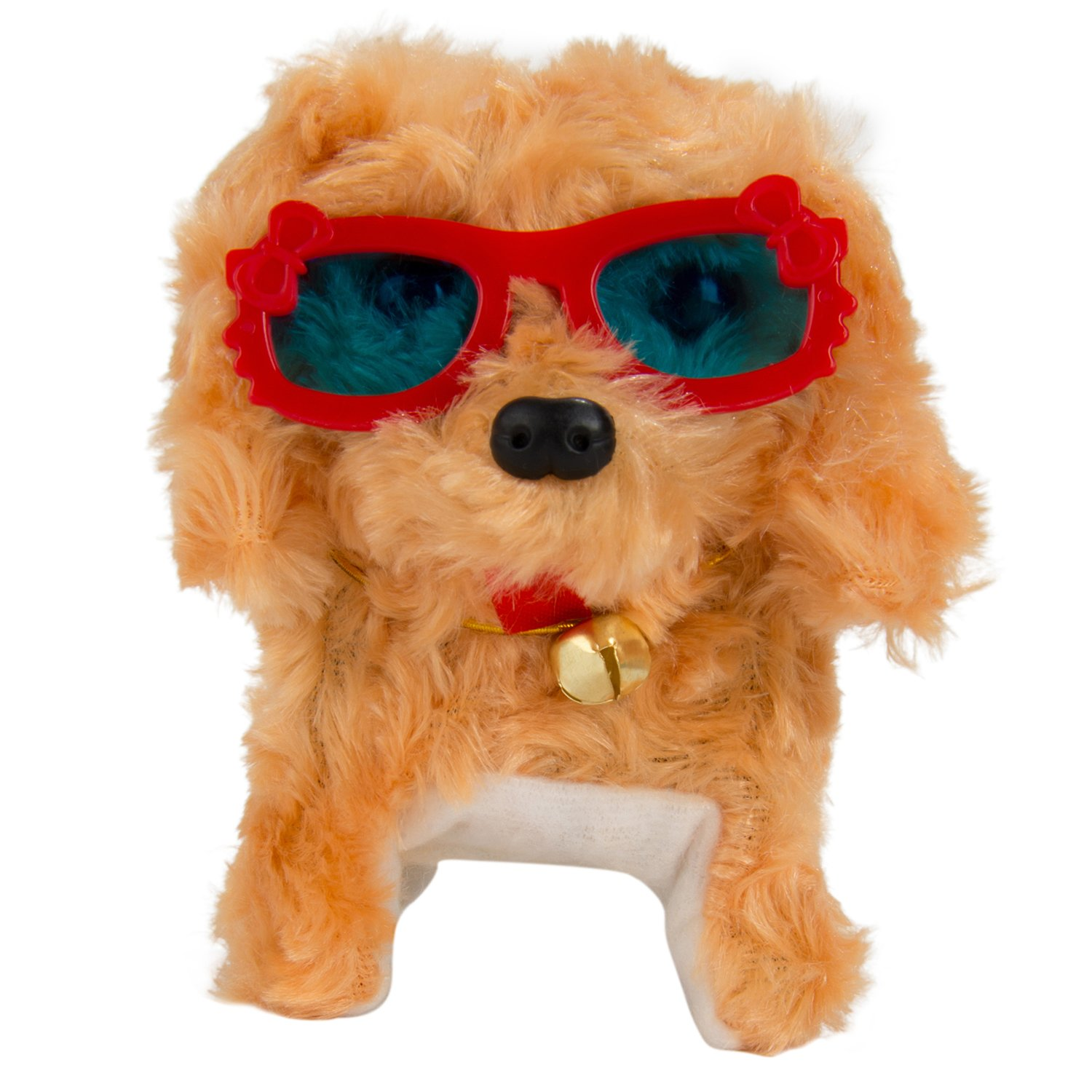 Battery Operated Plush Puppy Toy Dog Walking Barking Tail Wagging Head Nodding Electronic Stuffed Cute Animal Toy for Kids ( Brown Dog with Random Color Glasses )