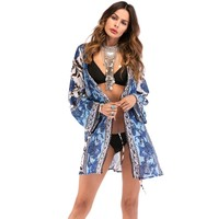 2019 Season Floral Beach Cover Up Fres Style Wrap Swimwear Beachwear Women Dress for Vacation