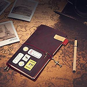 Caveen Leather Journal Refillable Notebook Traveler Notebook Diary Lined Paper Set for Man/Women/Travelers - Pen + Penholder + Clip + Travel stickers + Card Pocket + 3 Paper inserts Brown Wine Red