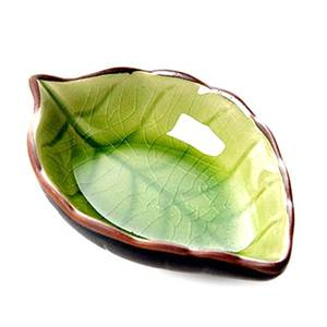 Kitchen Multi-Purpose Leaf Shaped Ceramic Small Seasoning Dish
