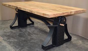 Crank Table Metal Rivets Black Color Mango Wood Top Adjule Vintage Iron Dining Hand
