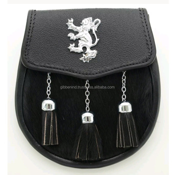 Brand New Black Leather Sporran With Lion Rampant Badge